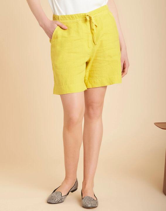 Citron yellow linen shorts (3) - 1-2-3