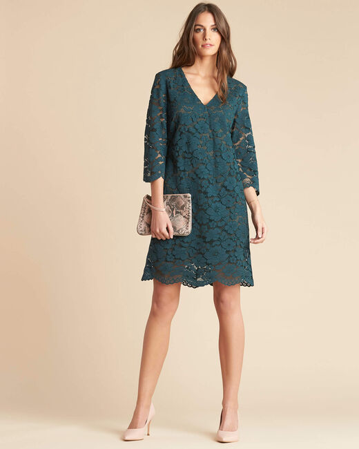 Poésie forest green dress with lateral bands in lace (1) - 1-2-3