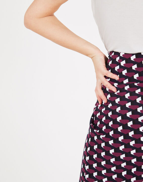 Fantastic navy blue straight-cut tailored printed skirt (4) - 1-2-3