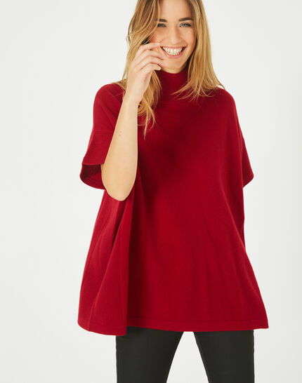 Passiflore Red cashmere cape with polo neck (3) - 1-2-3