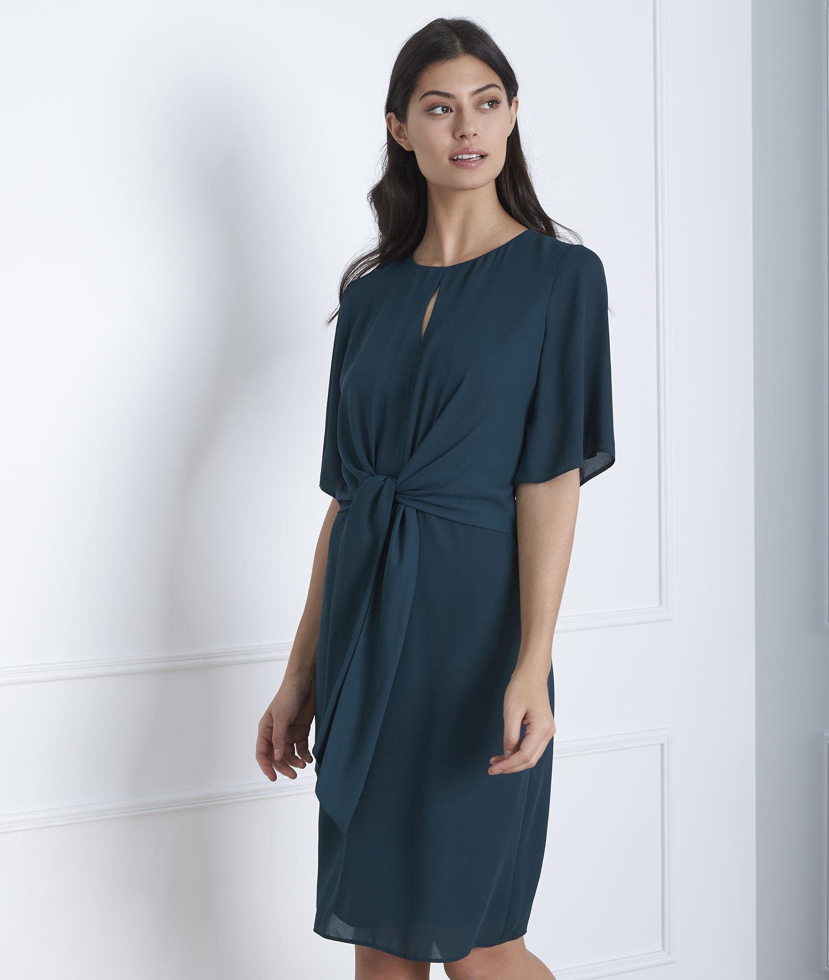d54bf1c7c362b3 Donkergroene gedrapeerde jurk Hermine - Maison Cent Vingt-Trois
