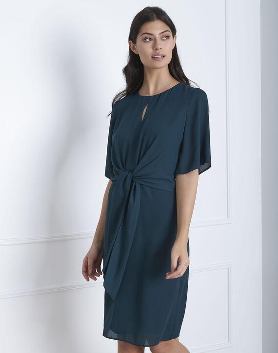 Robe vert foncé drapée Hermine PhotoZ | 1-2-3