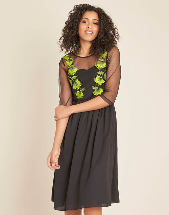 Ipnose black embroidered dress in tulle (3) - 1-2-3