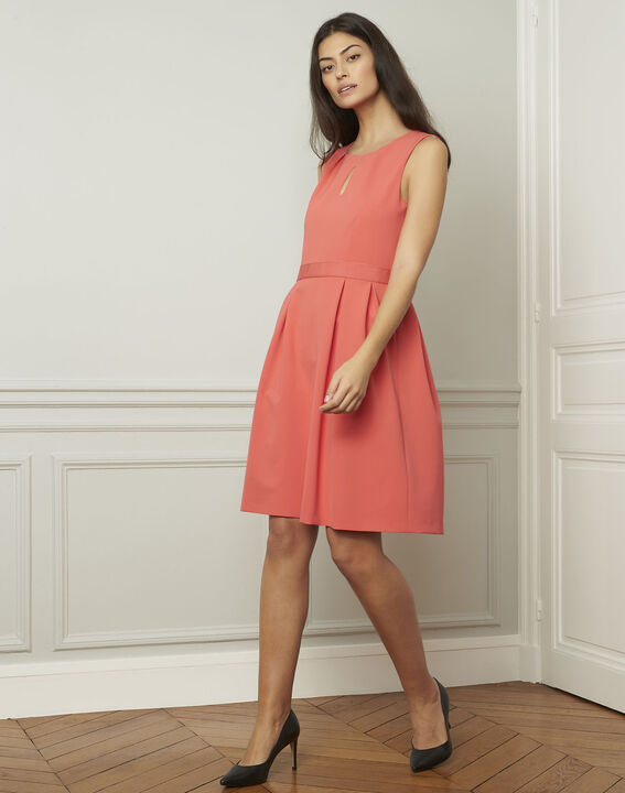 Isis round coral-coloured dress (2) - Maison 123