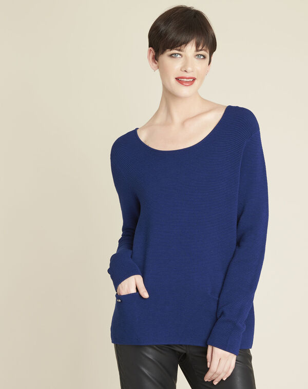 Saffierblauwe trui met zakken Blandine (1) - 37653