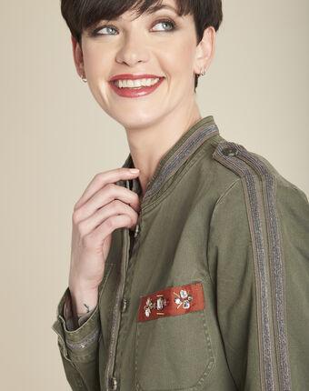 Khakifarbene army-jacke mit stickerei saphir blattgrün.
