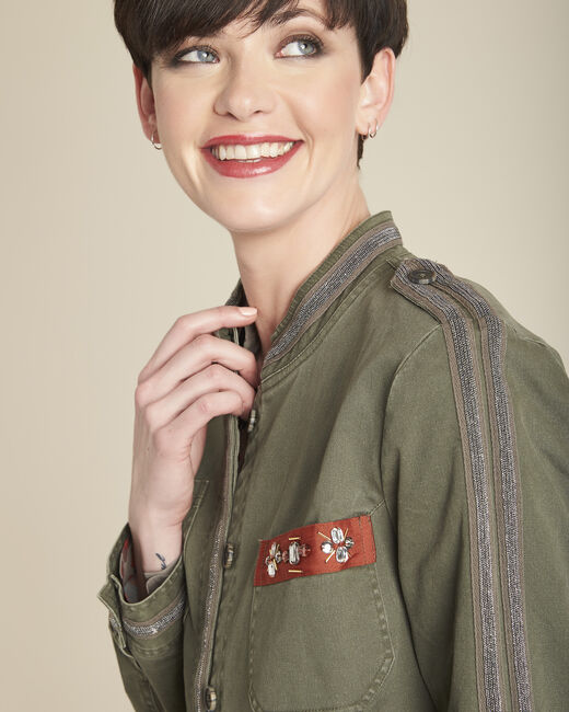 Saphir military-style khaki embroidered jacket (1) - 1-2-3