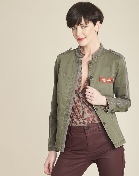 Khakifarbene Army-Jacke mit Stickerei Saphir (1) - 1-2-3
