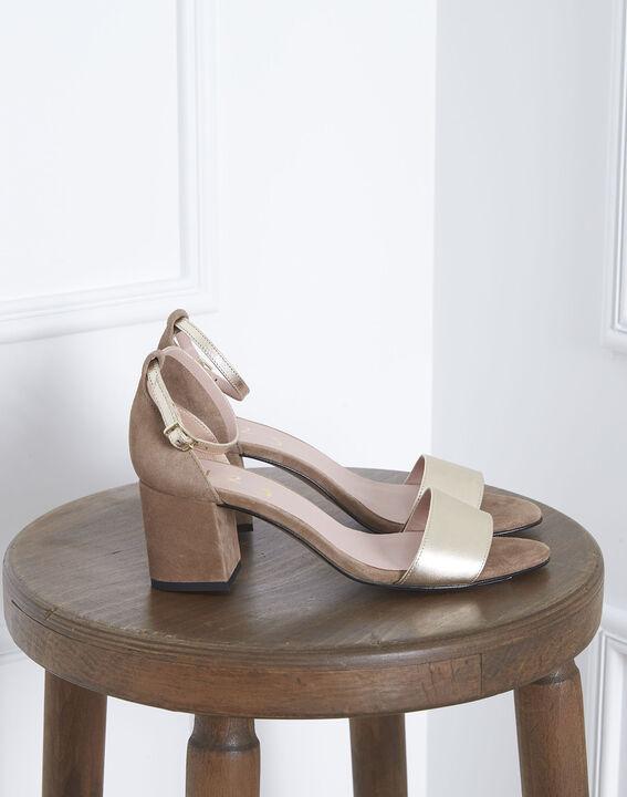 Sandales ouvertes dorées en cuir Khloe (1) - Maison 123