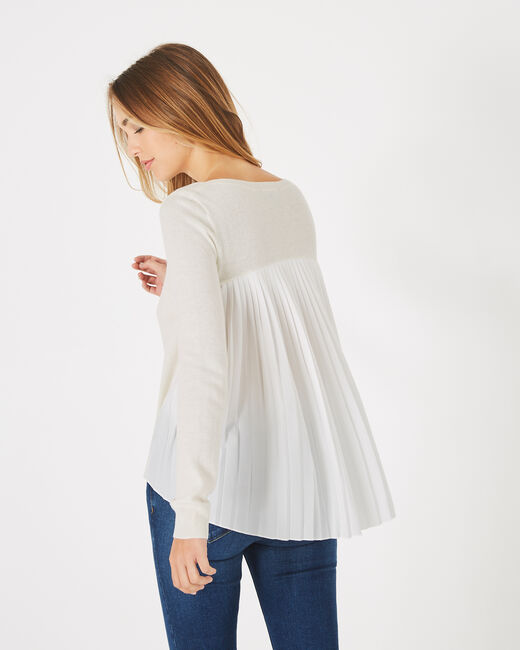Pleats off-white frilly, wool-blend sweater (2) - 1-2-3