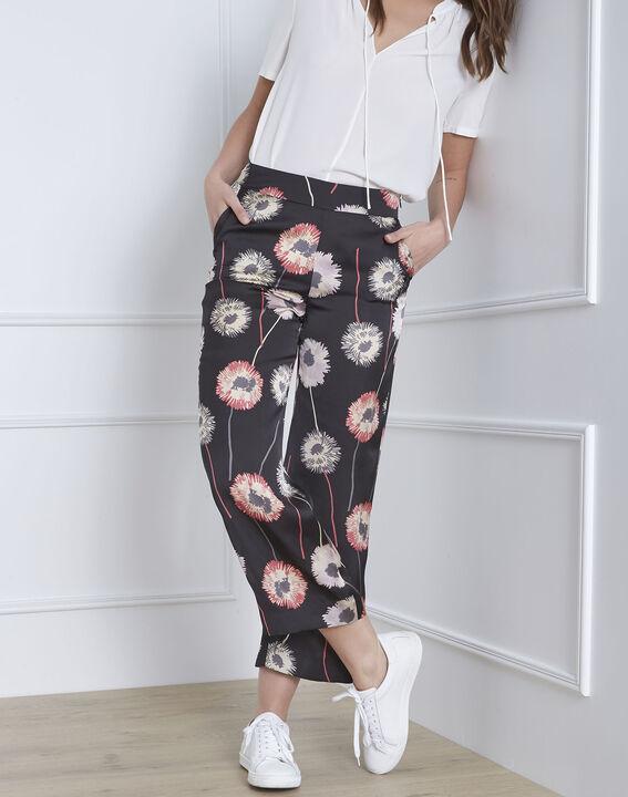 Pantalon noir imprimé fleuri effet satin Gama (2) - Maison 123
