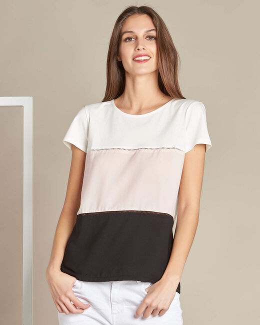 Tee-shirt écru colorblock détails ajourés Echelle (2) - 1-2-3