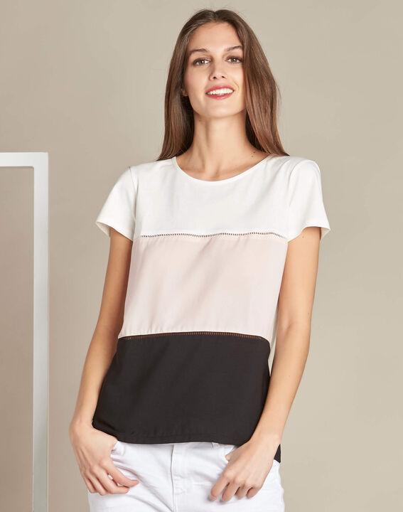 Echelle ecru block colour T-shirt with openwork detailing (3) - 1-2-3