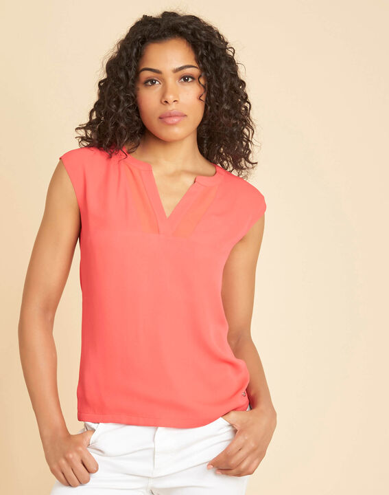 Bianca coral dual-fabric T-shirt with short sleeves and fishnet neckline (3) - 1-2-3