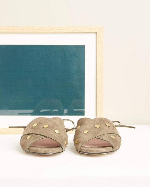 Sandales kaki en cuir lacées cheville Kitty (1) - 1-2-3