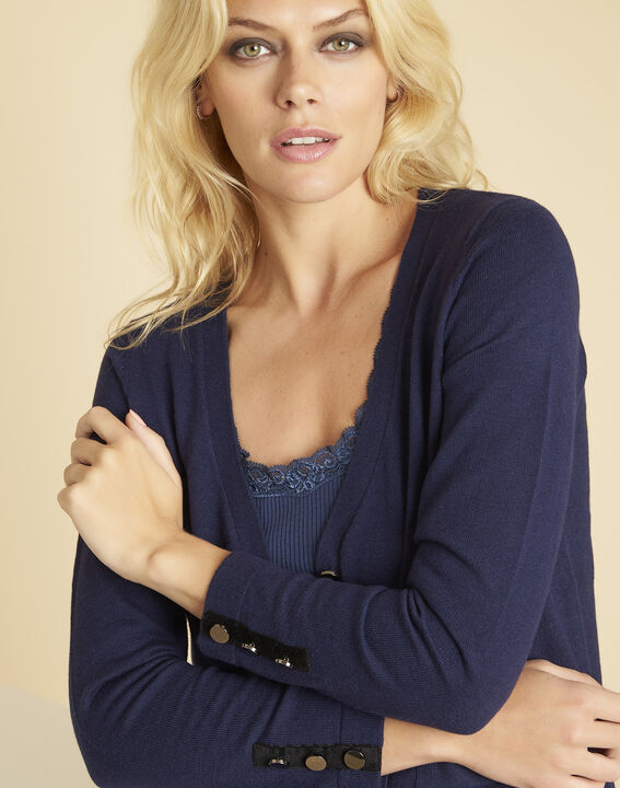 Bettina navy blue cardigan with velour grosgrain detailing (3) - 1-2-3
