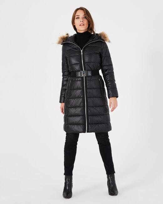 Doudoune longue noire capuche fourrure Louna (2) - 1-2-3