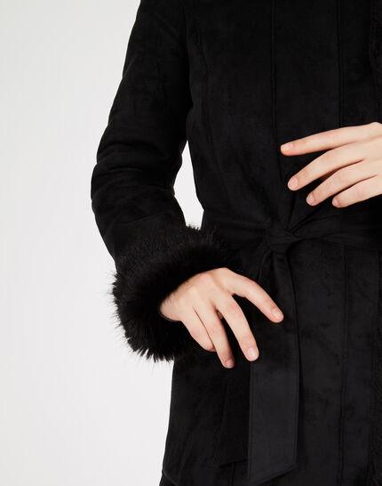 Manteau noir mi-long en peau lainée Lemilia (5) - 1-2-3