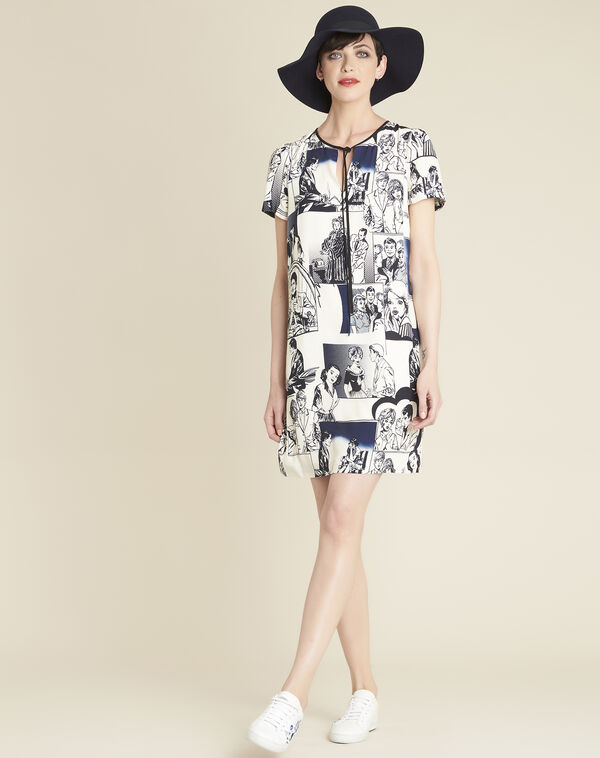 Diking navy blue printed dress (2) - 1-2-3