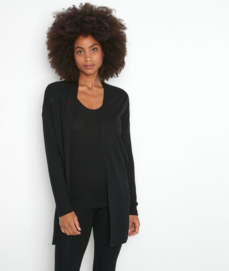 Lange Jacke mit Rippstrickmuster aus recycelter Wolle schwarz Tiago  PhotoZ | 1-2-3