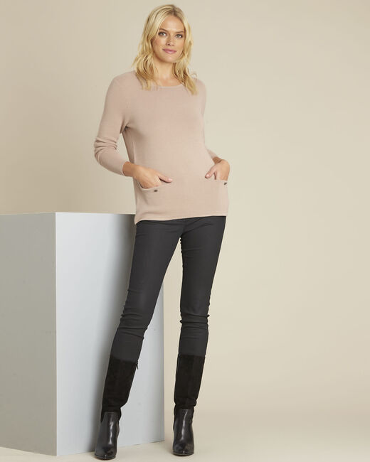 Blandine beige decorative knit pullover (1) - 1-2-3