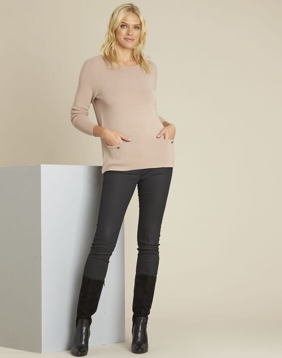 Blandine beige decorative knit pullover (2) - 1-2-3