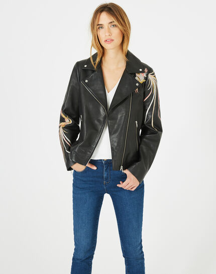 Habby black leather jacket with embroidered birds (2) - 1-2-3