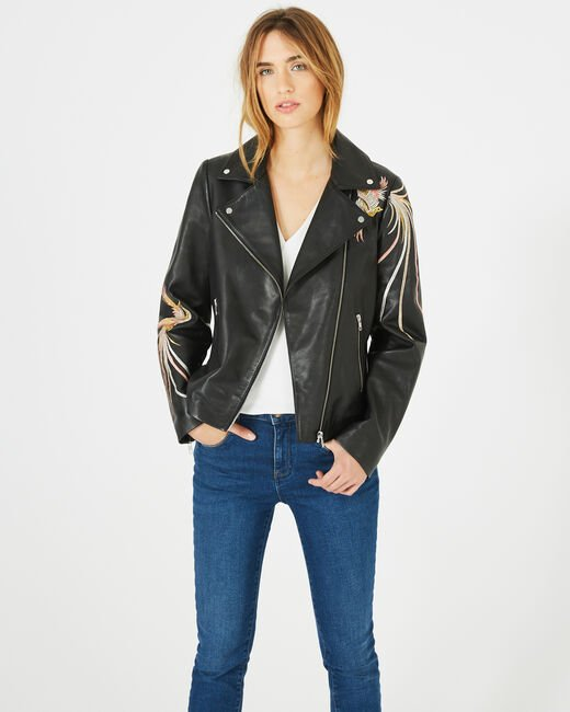 Habby black leather jacket with embroidered birds (1) - 1-2-3