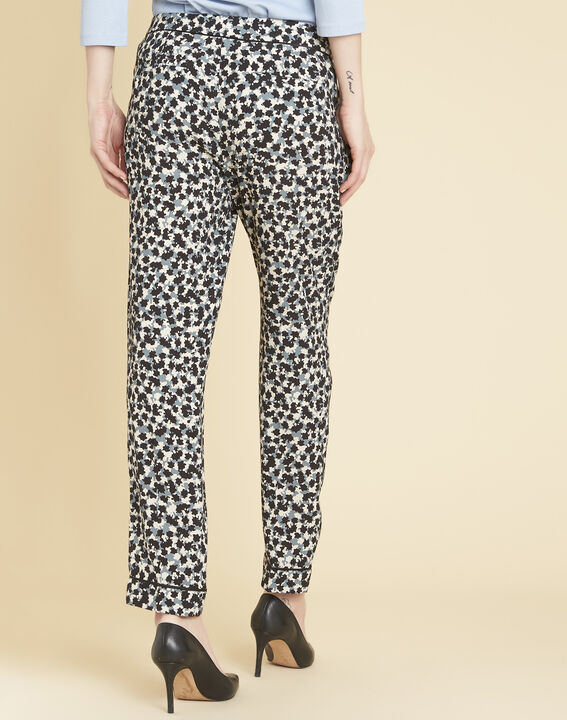 Douglas navy blue tapered trousers with print (4) - 1-2-3