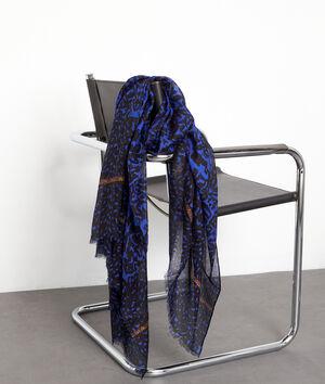 Foulard imprimé noir et bleu Paula