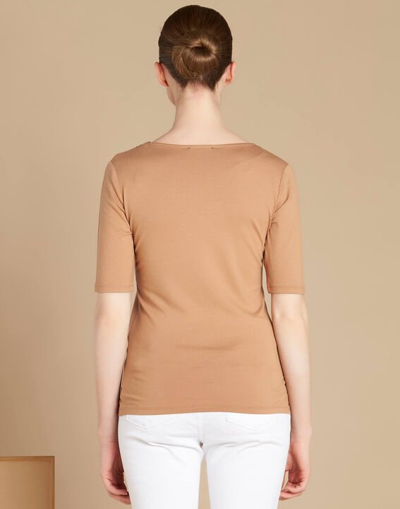 Eloge camel T-shirt with rounded lace neckline (4) - 1-2-3
