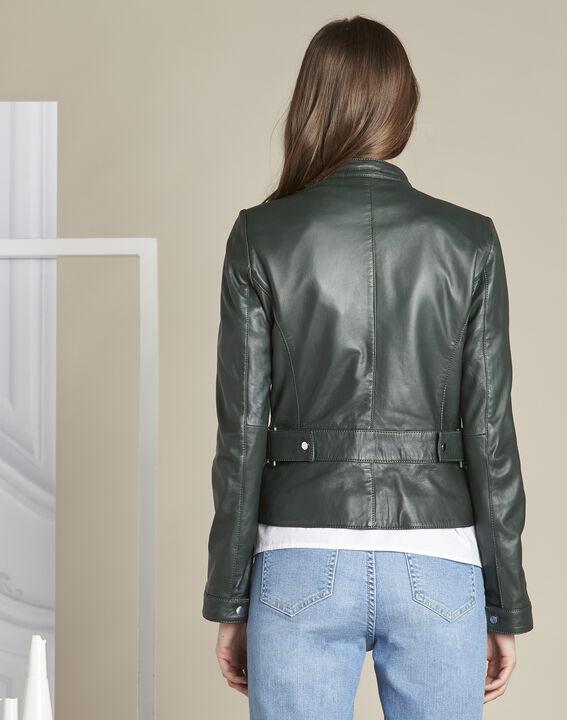 Veste vert foncé courte en cuir Tibo (4) - 1-2-3