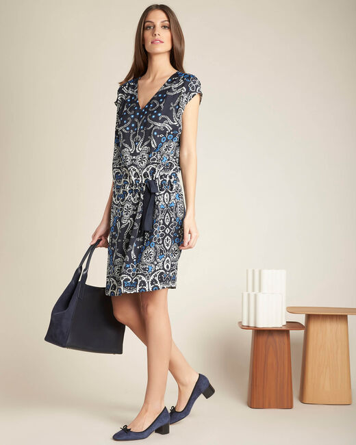 Pauline navy blue floral printed dress with belt (1) - 1-2-3