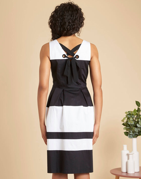 Isla black and white striped dress with original back (4) - 1-2-3