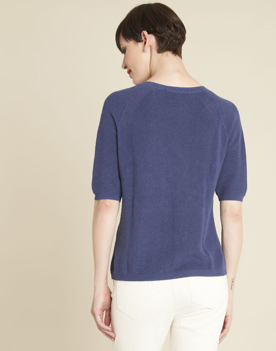 Boreale blue sweater with lacing and eyelets (4) - 1-2-3
