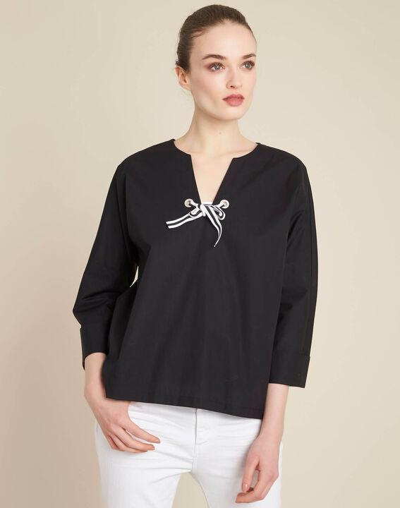 Zwarte blouse van popeline met lint Gianna (3) - 37653