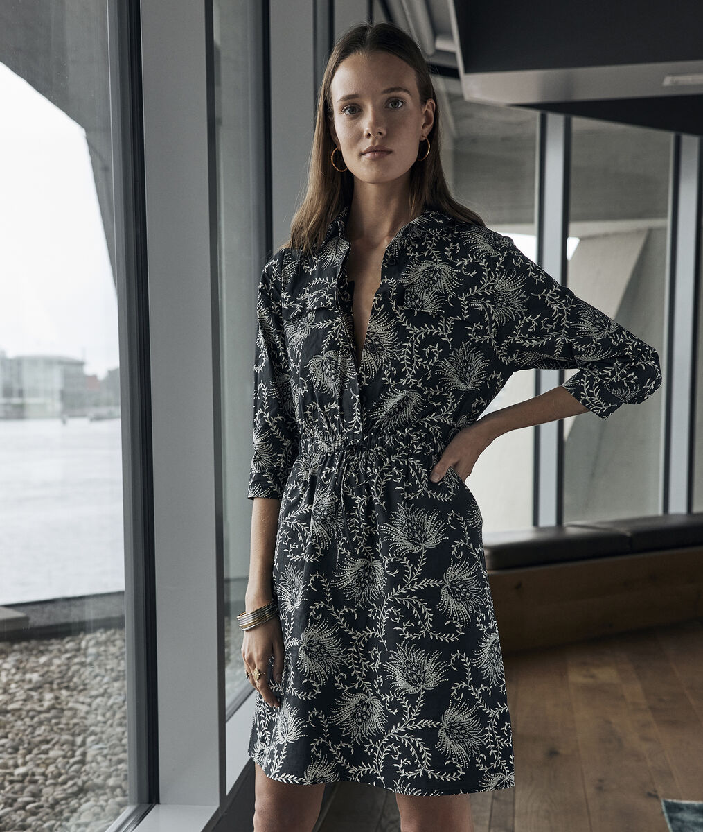 Robe en coton imprimé noir et blanc Suzie PhotoZ   1-2-3