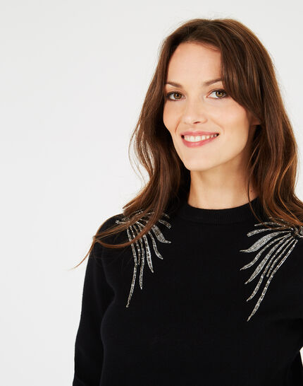 Prince black sweater with embroidered wings (3) - 1-2-3