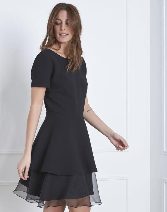 Schwarzes Kleid aus Bimaterial und Organza mit Volant Hypolite (1) - Maison 123