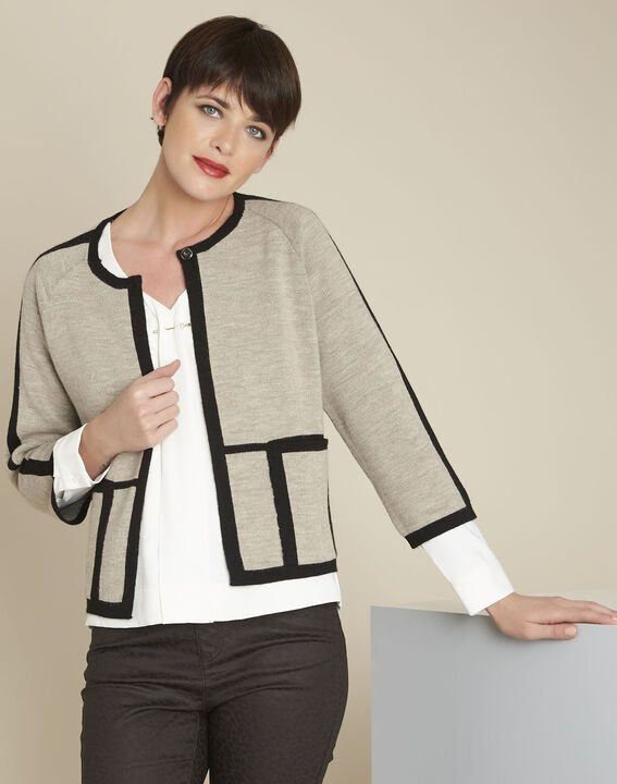 Mastic taupe cardigan with contrasting bias (1) - 1-2-3