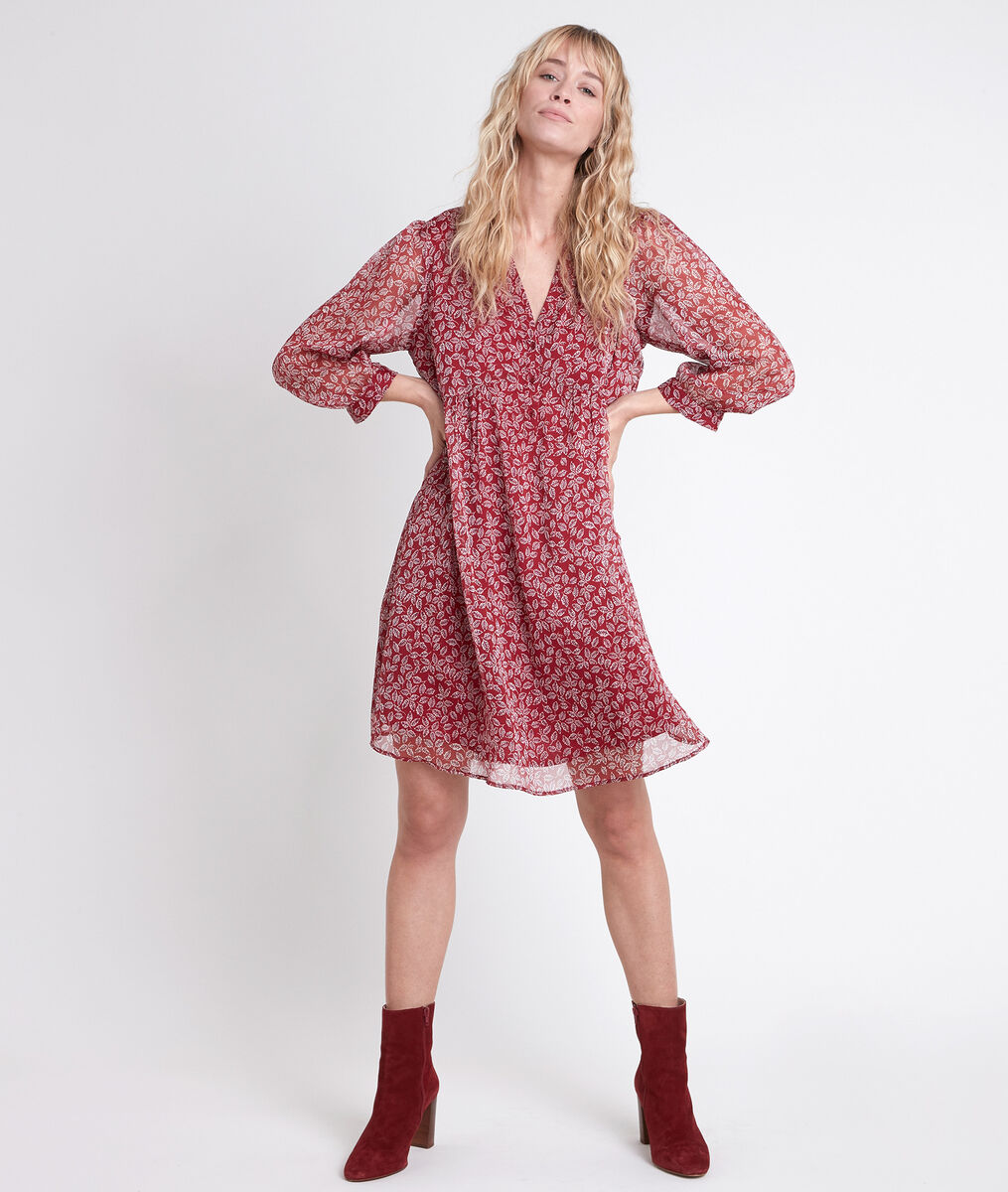 Robe rouge imprimé fleuri Calypso PhotoZ | 1-2-3