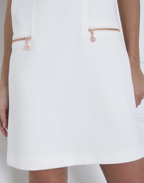Robe blanche droite zips poches Legende (3) - Maison 123