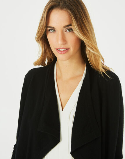 Primevère black cashmere waterfall cardigan (3) - 1-2-3