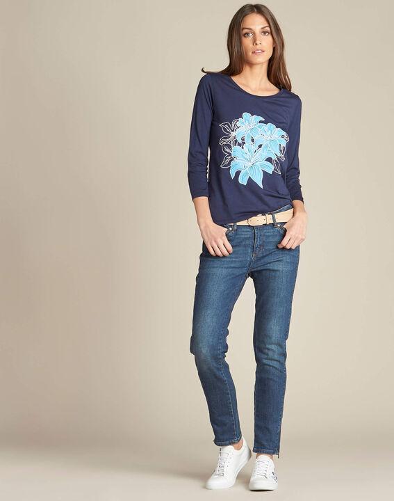 Marineblauw T-shirt met bloemenprint Enoopsy (2) - 37653