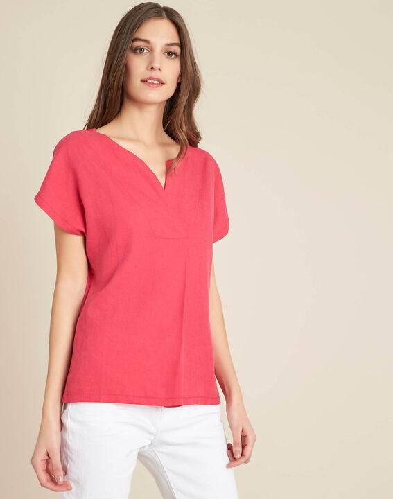 Fuchsienrotes T-Shirt im Materialmix mit Tunika-Kragen Gaia (3) - 1-2-3