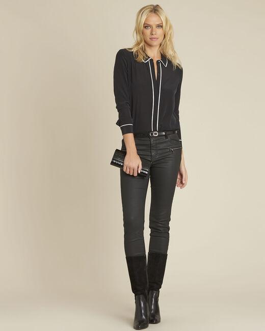 Schwarze Hemdbluse mit kontrastfarbenem Schrägband aus Seide Celine (1) - 1-2-3