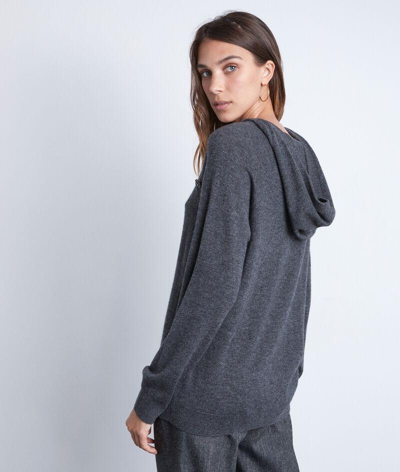 Pull à capuche en laine et cachemire recyclés anthracite Telia PhotoZ | 1-2-3