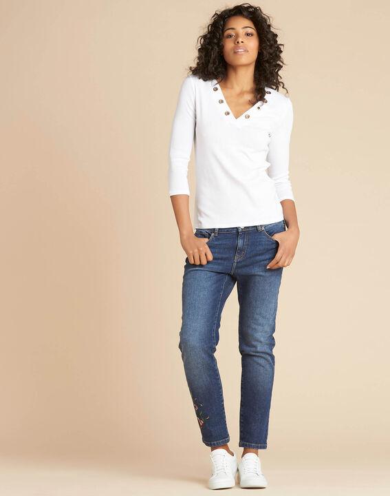 Tee-shirt blanc encolure à oeillets Basic (2) - 1-2-3
