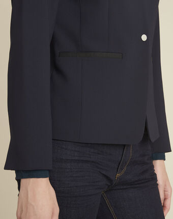 Majesté blue collarless jacket navy.
