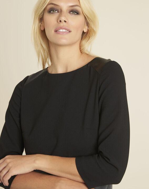 Dandy dual-fabric charcoal dress (3) - 1-2-3